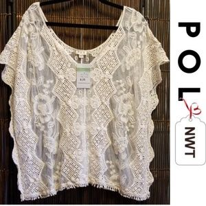 NWT Cream Crochet & Lace Top M/L